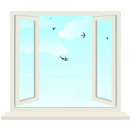 casement: Open window on wall and cloudy sky with birds swallow  illustration  Illustration