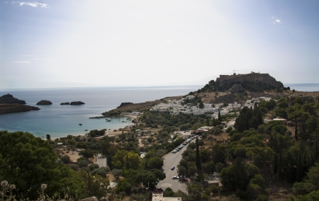 Lindos castle above on the Greek Island of Rhodes  photo