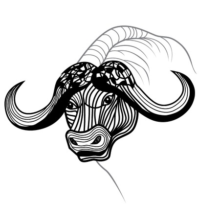 Buffalo bull head vector animal illustration for t-shirt  Sketch tattoo design  Vector