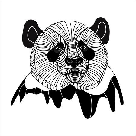 Oso panda cabeza símbolo de línea animal mascota emblema de diseño, ilustración vectorial para t-shirt Vectores