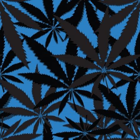 Hemp floral seamless background, cannabis leaf background texture  Vector marijuana leaves illustration  Vector