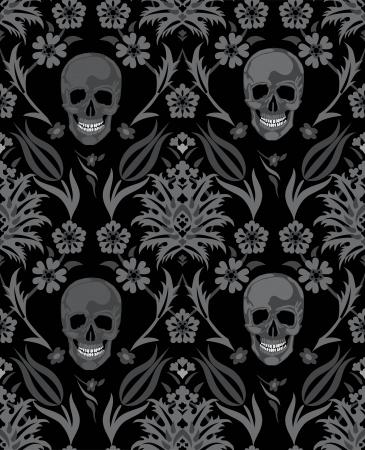 검은 배경에 할로윈 기호에 원활한 꽃 두개골 벡터 개체 스컬 그림 사람의 뼈 디자인 일러스트
