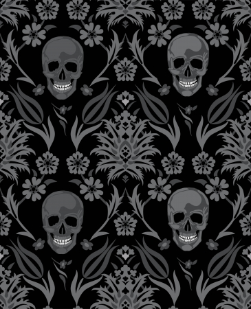 Seamless flower skull vector object scull illustration  People bone design on black background  Halloween symbol  Vector