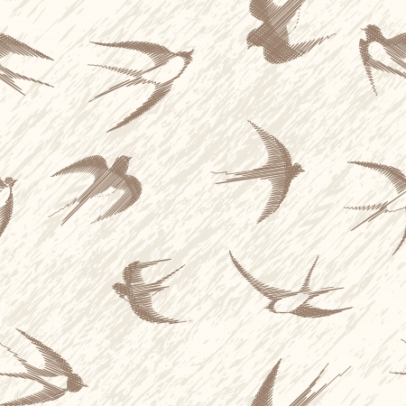 Bird swallow seamless vintage set  Vector illustration poses isolated on white  Ilustração