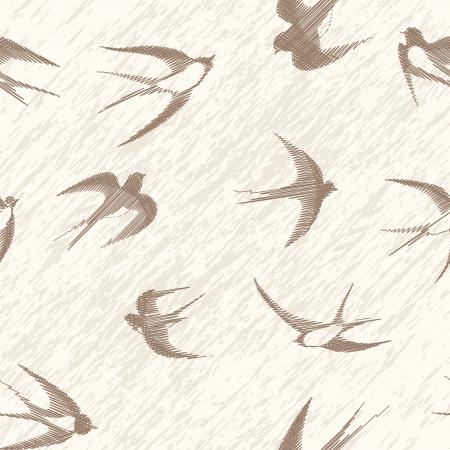 Vogel slikken naadloze vintage set Vector illustratie vormt geïsoleerd op wit Stock Illustratie