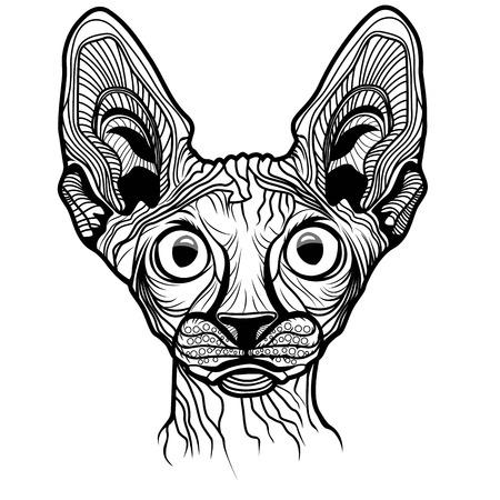 T-셔츠 스케치 문신 스핑크스 디자인을위한 고양이 머리 벡터 동물 그림