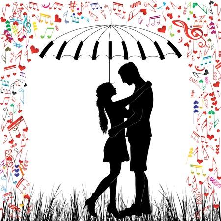 lluvia paraguas: Besar lluvia pares del coraz�n del hombre y la mujer en el amor de San Valent�n d�a de fondo Los j�venes bajo el paraguas de piano aislada del vector en blanco Vectores