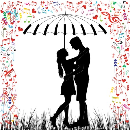 umbrella rain: Kissing couple heart rain  Man and woman in love  Valentine day background  Young people under piano umbrella  Isolated vector on white