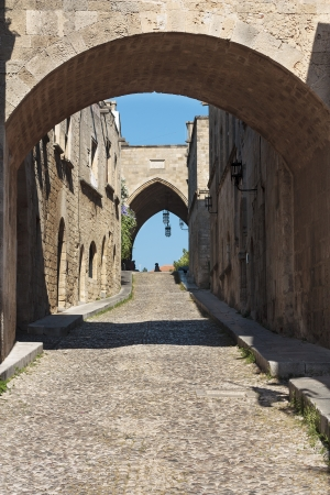 Medieval Avenue of the Knights  Greece  Rhodos island  Old town  Street of the Knights photo  Now Embassy street  photo