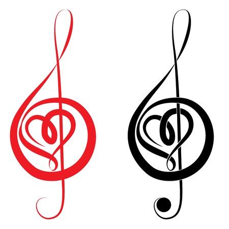 clave de fa: Corazón de la clave de sol y bajo love music valentine días ilustración vectorial