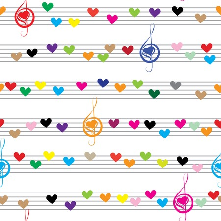 musical: Music heart note sound love texture   Seamless valentine vector background  Fabric design element  Isolated on white