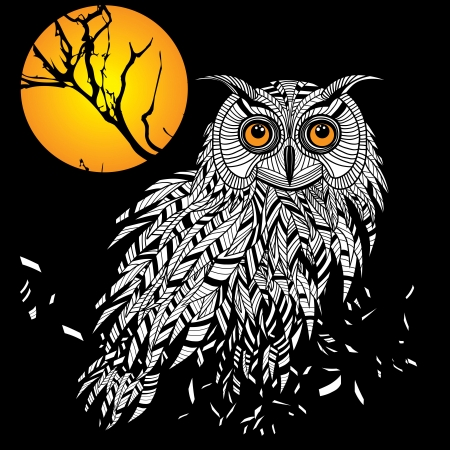 feathers: Owl bird head as halloween symbol for mascot or emblem design, logo vector illustration for t-shirt. Sketch tattoo design.