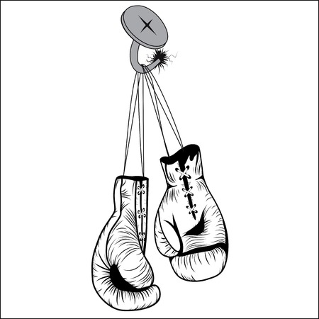 nailed: Boxing gloves hang with laces nailed to wall as a business or sport concept of a person that retires give up the fight or prepares for competition  Vector illustration isolated on white background