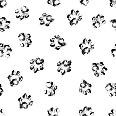 Animal cat paw track feet print icons with shadow  Foot grunge banner vector illustration traces isolated on white  Vector