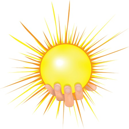Sun in people hand vector illustration  Human hold shining sun and giving peace  Concept image of solar energy, investment, bright successful future, globalization, ecology, green technology for new generation Vector