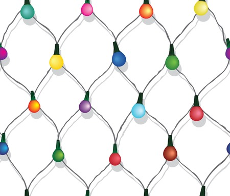 string of christmas lights: Seamless string of Christmas lights on garland vector background  isolated on white