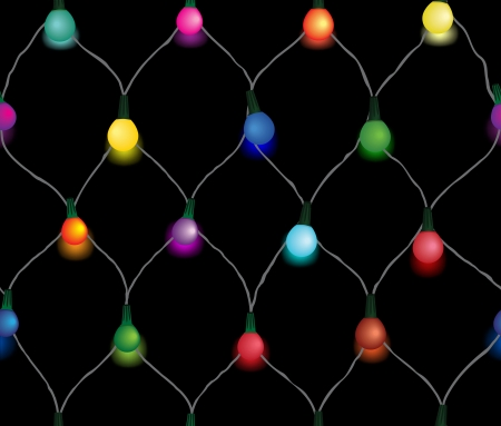 string of christmas lights: Seamless string of Christmas lights on garland vector background Illustration