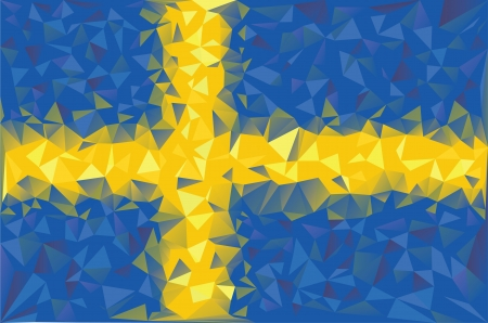 sverige: Flag Sweden  Swedish grunge mosaic geometric pattern banner triangle vector  Illustration