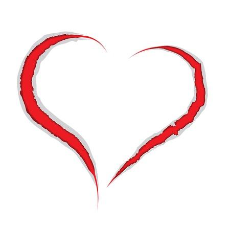 slash: Valentine love heart claws scratch on paper Vector damage illustration, valentines, romantic Design element  Illustration