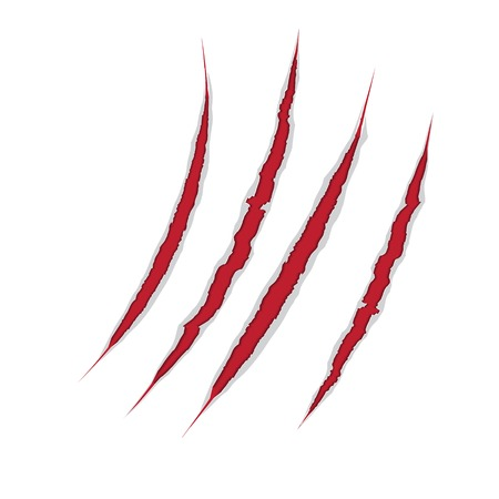 Claws scratch on paper Vector damage illustration