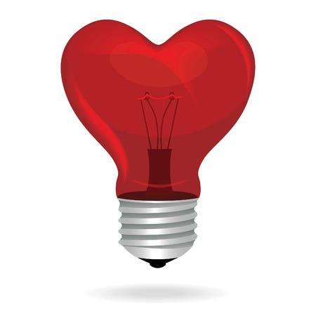 Heart love light bulb vector isolated object  Vector