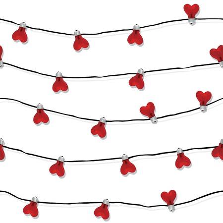 Cuore senza soluzione di continuità lampadina nozze luce amore vettoriale Valentino