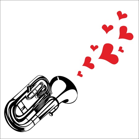 fanfare: Heart love music trumpet playing a song for valentine day background  Illustration