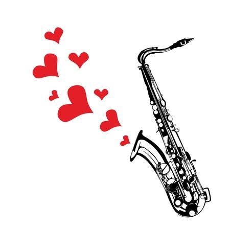 Coeur d'amour de la musique saxophone jouant une chanson pour le fond du jour de valentine