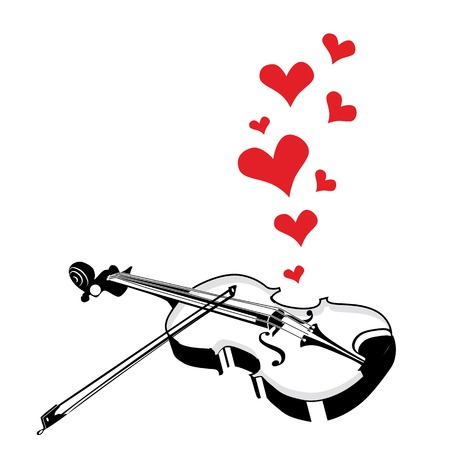 fiddles: Heart love music violin playing a song for valentine day background