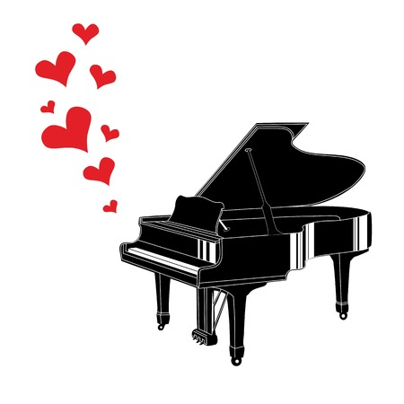 design media love: Heart love music piano playing a song for valentine day vector background.