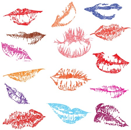 Lip print track set in tender kiss. Love valentines day vector illustration. Vector