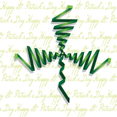 Abstract shamrock with ribbon, green creative clover  St Patrick
