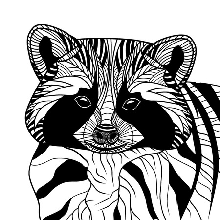 Racoon or coon head vector animal illustration for t-shirt  Sketch tattoo design  Vector