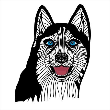 whelp: Dog husky head vector animal illustration for t-shirt  Sketch tattoo design  Illustration