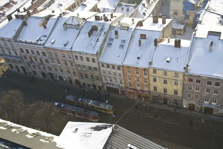 lemberg: Historical centre of Lviv Top view in Lviv, Ukraine  Panoramic view of old city in Europe photo Stock Photo