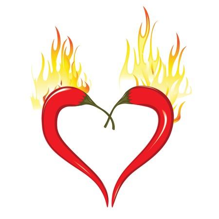 chiles picantes: Corazón de fuego de los chiles. El amor de San Valentín caliente símbolo de la cocina mexicana azian. Elemento para el diseño aislado en blanco