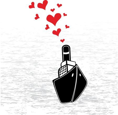 steamship: Boot liefde in Valentijnsdag. Abstracte vector afbeelding met stoomschip en hart. Stock Illustratie