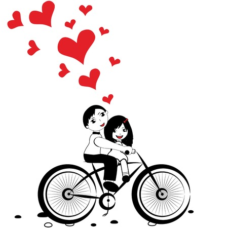 Happy man and woman in love on bicycle. Girl boy cycling with big red heart for valentine day vector Vector