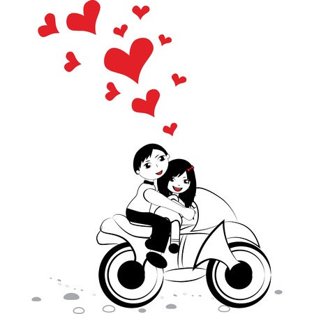 Happy man and woman in love on motorcycle, motorbike. Girl boy moped with big red heart for valentine day vector