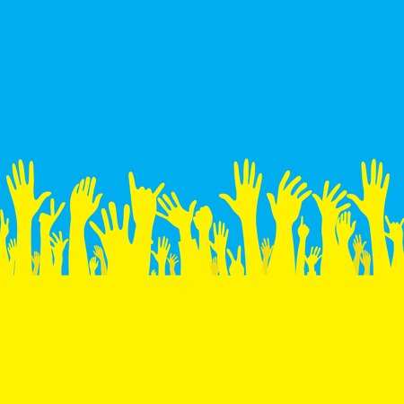 hand with Ukraine flag illustration Stock Vector - 30208271