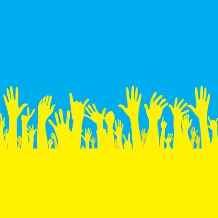 hand with Ukraine flag illustration Stock Vector - 30208271