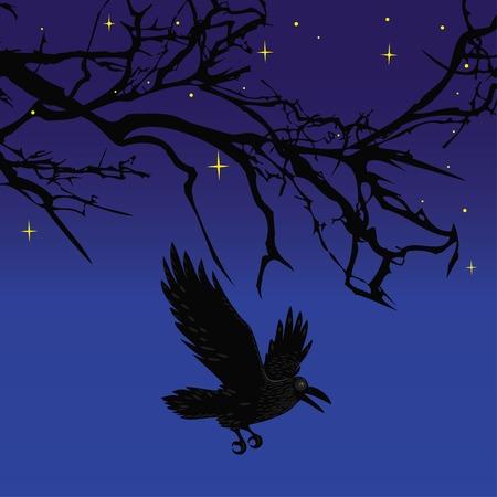 dreary: Dark crow bird flying over scary halloween night tree illustration background Illustration