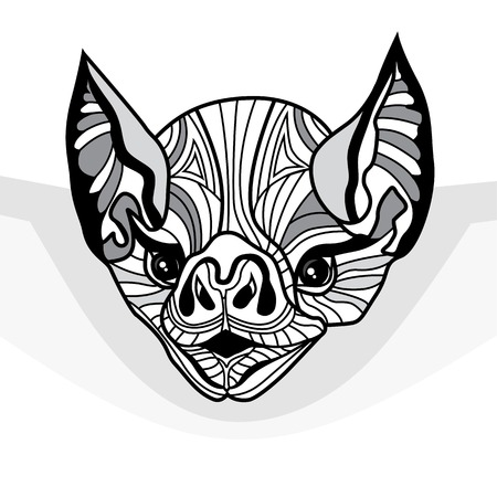 echolocation: Bat head vector animal illustration for t-shirt. Sketch tattoo design. Vector Design element. Halloween illustration.