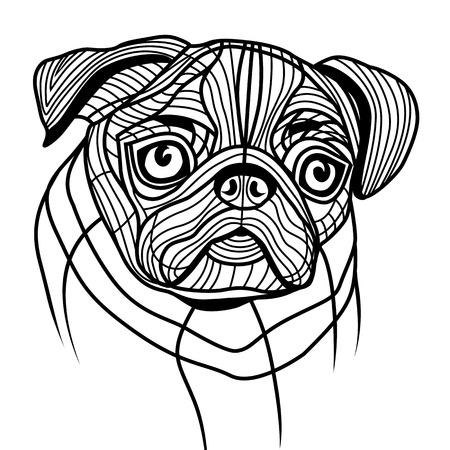whelps: Dog pug head vector animal illustration for t-shirt. Sketch tattoo design. Illustration