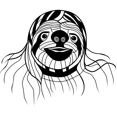 sloth: Ilustración Pereza animales cabeza vector para la camiseta. Diseño del tatuaje del bosquejo. Vectores