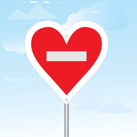 forbid: No loving sign. Vector illustration. composition with the heart and the road sign stop. Illustration