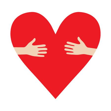 touching hands: Heart In Hands hug donation encourage illustration Illustration