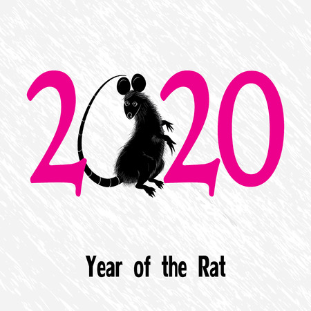 Rat, mouse as symbol for year 2020 by Chinese traditional horoscope with grass