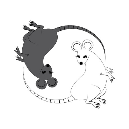Yin Yang sign icon. White and black cute funny cartoon rat. Feng shui symbol. Isolated Flat design style.
