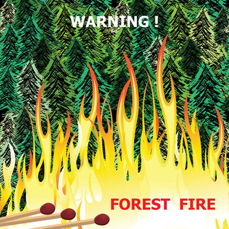 Forest fire, wildfire burning tree in red and orange color Illustration